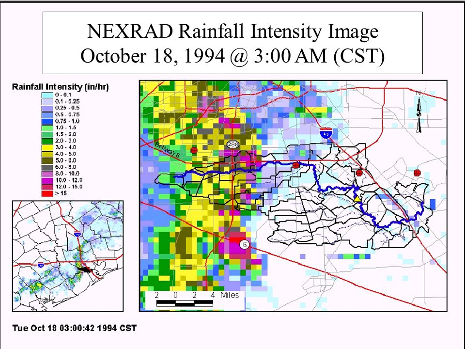 NEXRAD Rainfall Intensity Image October 18, 3:00 AM (CST)