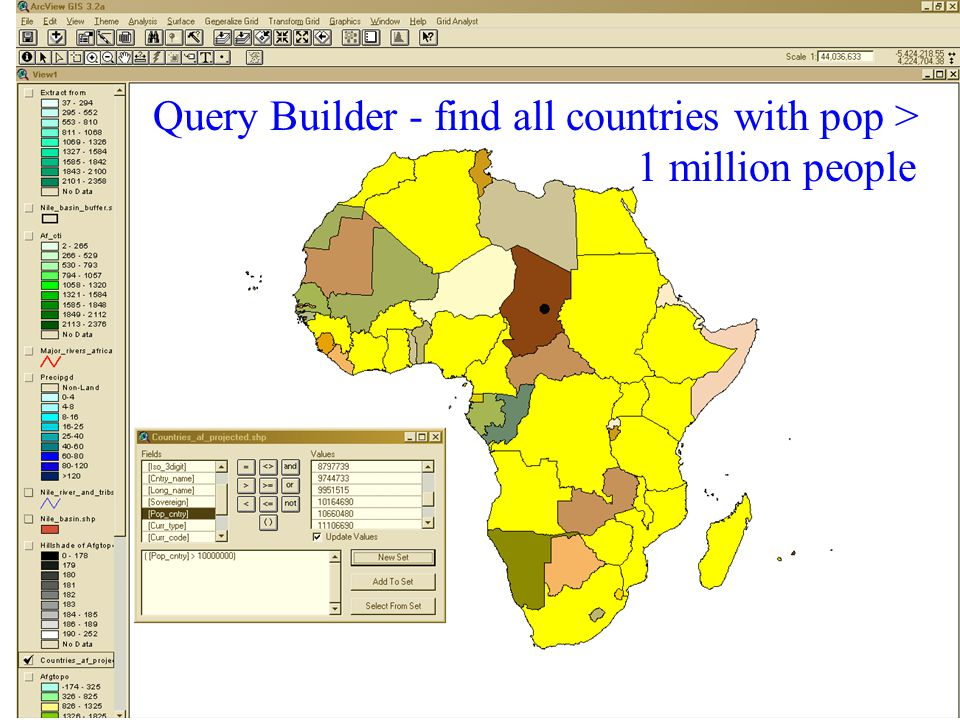 Query Builder - find all countries with pop > 1 million people