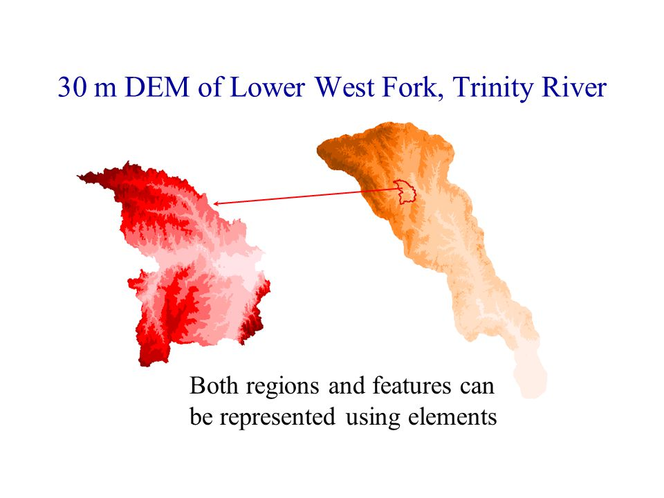 30 m DEM of Lower West Fork, Trinity River Both regions and features can be represented using elements