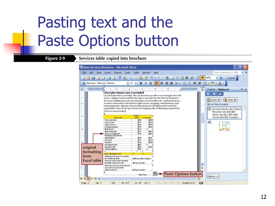 12 Pasting text and the Paste Options button