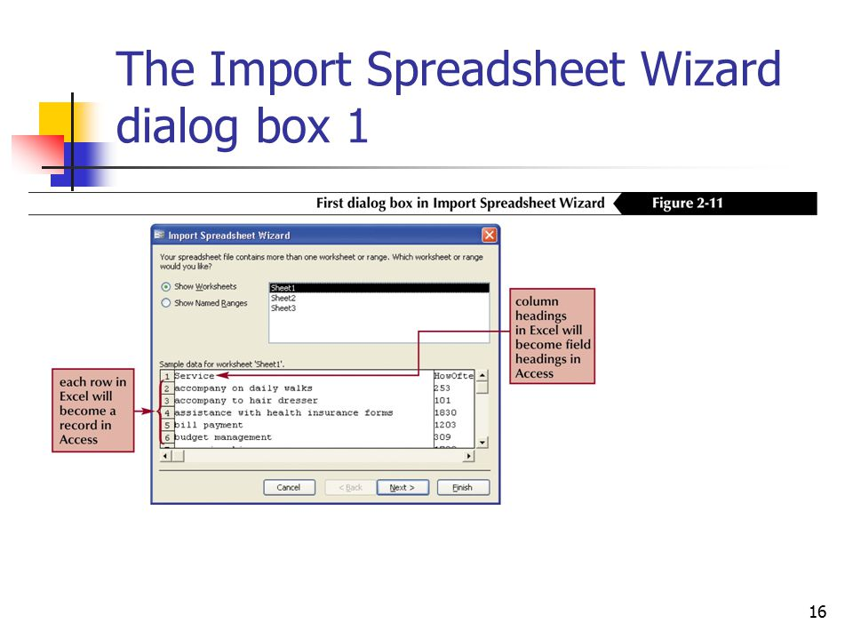 16 The Import Spreadsheet Wizard dialog box 1
