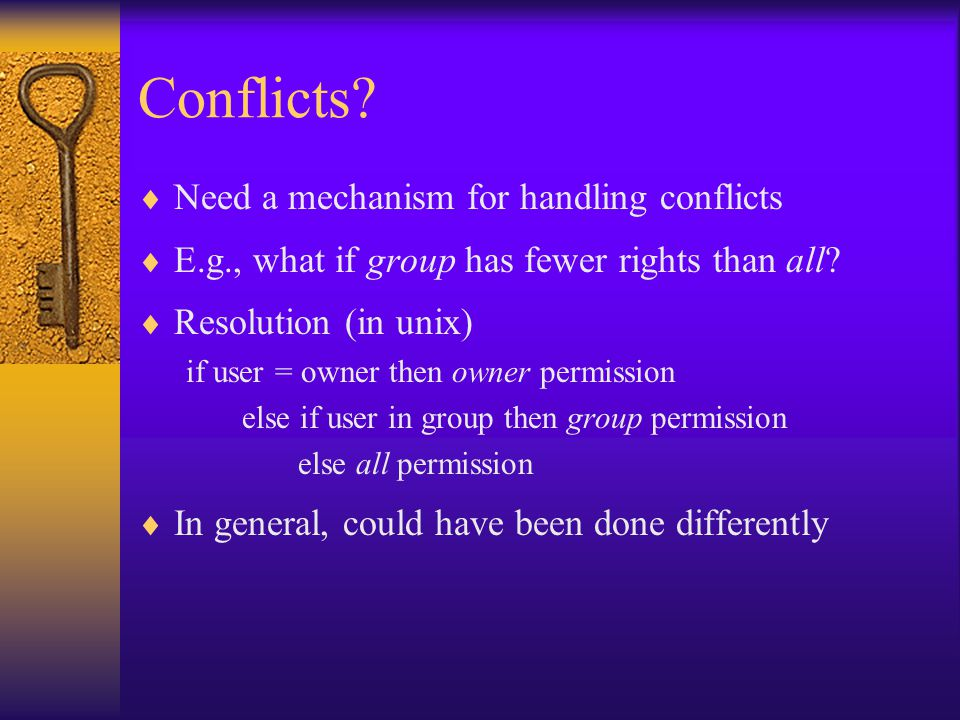 Conflicts.