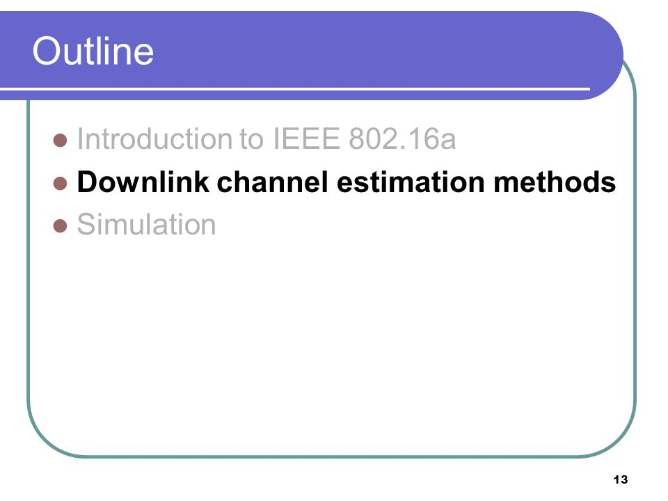 13 Outline Introduction to IEEE a Downlink channel estimation methods Simulation
