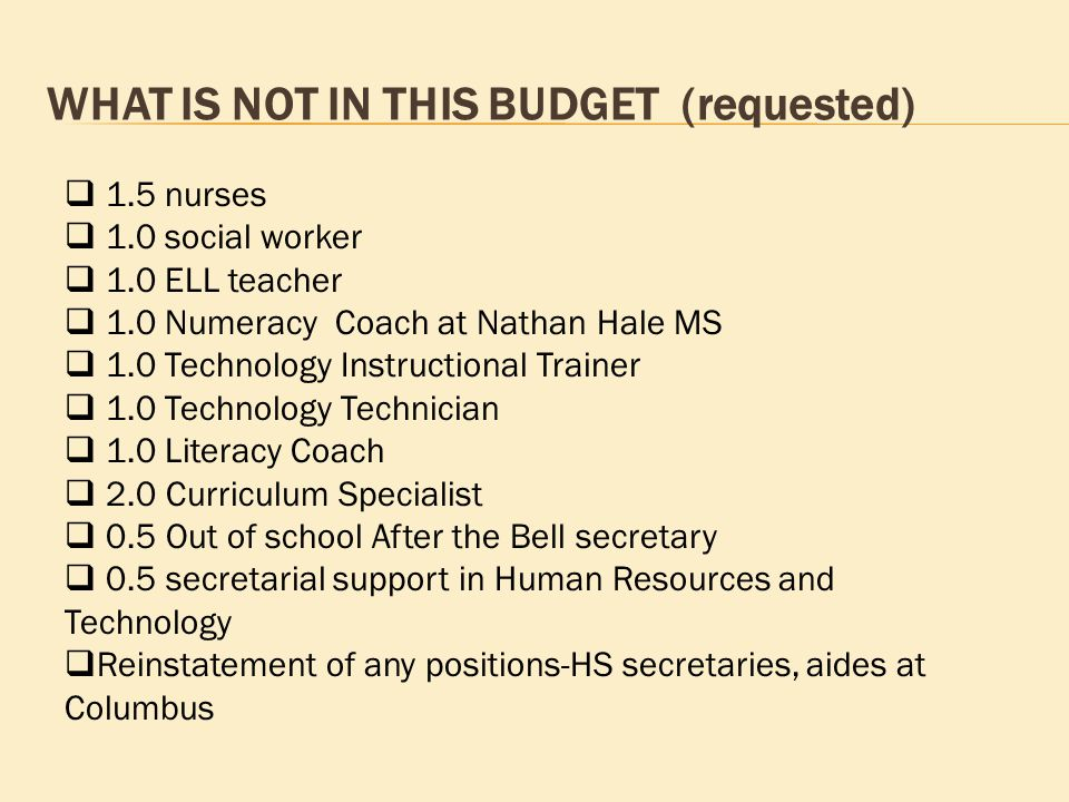 WHAT IS NOT IN THIS BUDGET (requested)  1.5 nurses  1.0 social worker  1.0 ELL teacher  1.0 Numeracy Coach at Nathan Hale MS  1.0 Technology Instructional Trainer  1.0 Technology Technician  1.0 Literacy Coach  2.0 Curriculum Specialist  0.5 Out of school After the Bell secretary  0.5 secretarial support in Human Resources and Technology  Reinstatement of any positions-HS secretaries, aides at Columbus