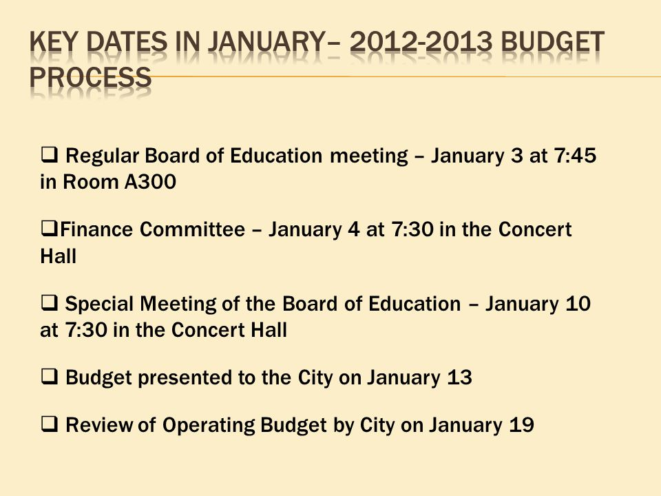  Regular Board of Education meeting – January 3 at 7:45 in Room A300  Finance Committee – January 4 at 7:30 in the Concert Hall  Special Meeting of the Board of Education – January 10 at 7:30 in the Concert Hall  Budget presented to the City on January 13  Review of Operating Budget by City on January 19