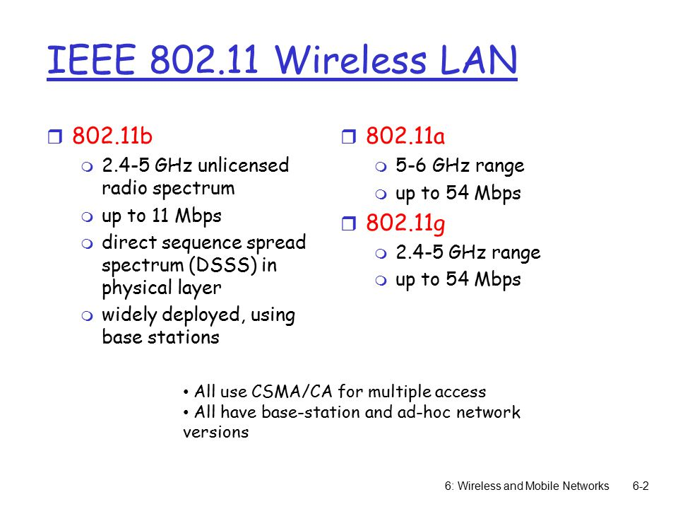 6: Wireless and Mobile Networks6-2 IEEE Wireless LAN r b m GHz unlicensed radio spectrum m up to 11 Mbps m direct sequence spread spectrum (DSSS) in physical layer m widely deployed, using base stations r a m 5-6 GHz range m up to 54 Mbps r g m GHz range m up to 54 Mbps All use CSMA/CA for multiple access All have base-station and ad-hoc network versions