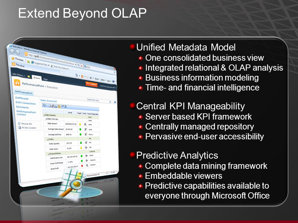 Extend Beyond OLAP Unified Metadata Model One consolidated business view Integrated relational & OLAP analysis Business information modeling Time- and financial intelligence Central KPI Manageability Server based KPI framework Centrally managed repository Pervasive end-user accessibility Predictive Analytics Complete data mining framework Embeddable viewers Predictive capabilities available to everyone through Microsoft Office