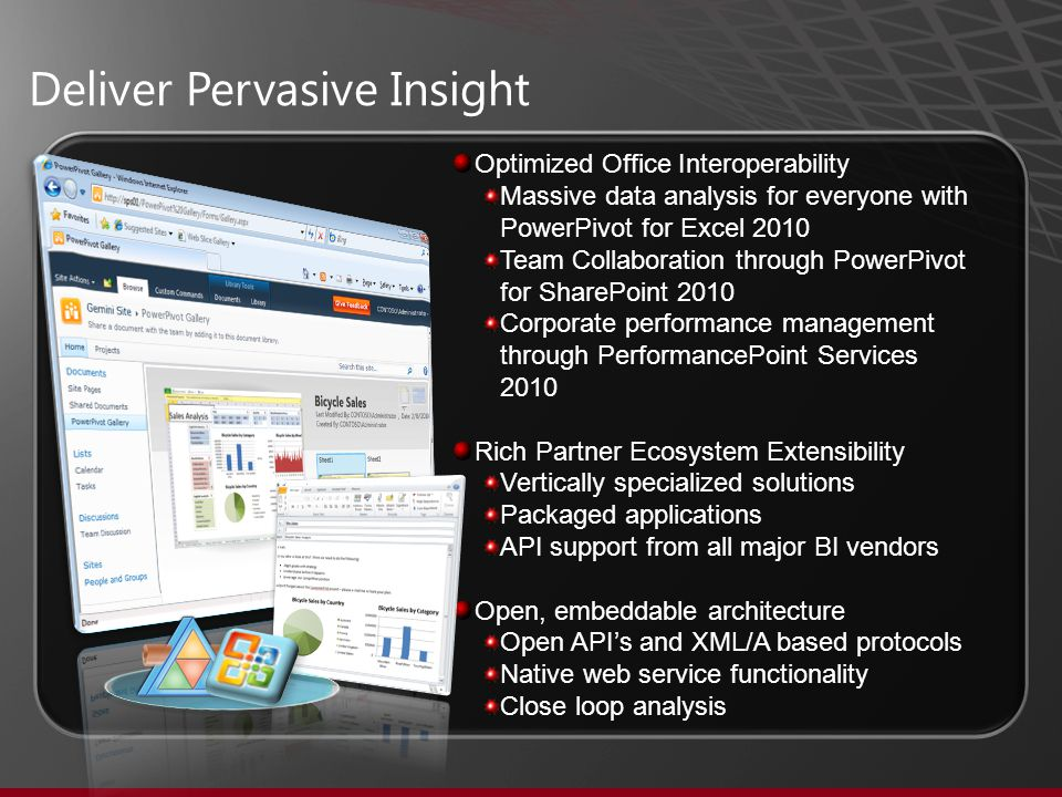 Deliver Pervasive Insight Optimized Office Interoperability Massive data analysis for everyone with PowerPivot for Excel 2010 Team Collaboration through PowerPivot for SharePoint 2010 Corporate performance management through PerformancePoint Services 2010 Rich Partner Ecosystem Extensibility Vertically specialized solutions Packaged applications API support from all major BI vendors Open, embeddable architecture Open API's and XML/A based protocols Native web service functionality Close loop analysis
