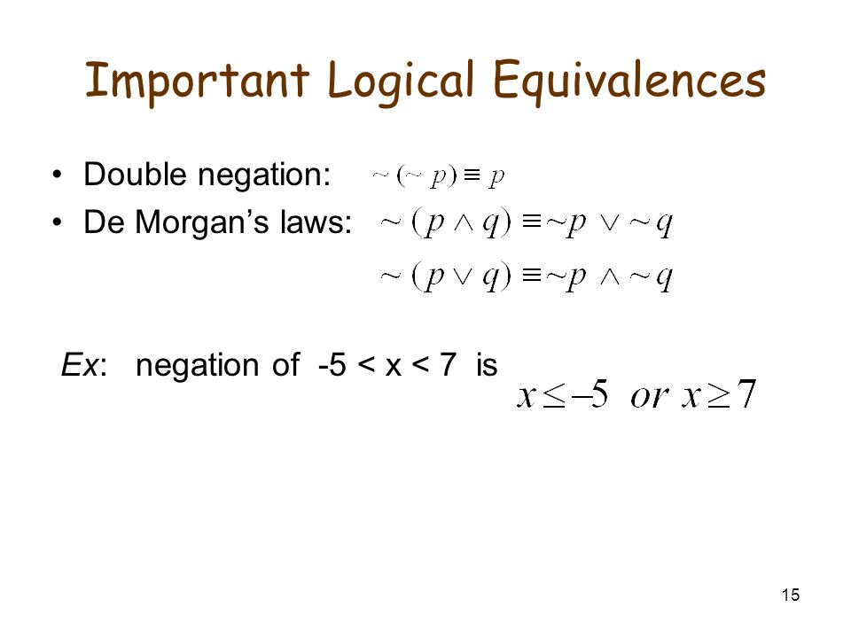15 Important Logical Equivalences Double negation: De Morgan's laws: Ex: negation of -5 < x < 7 is