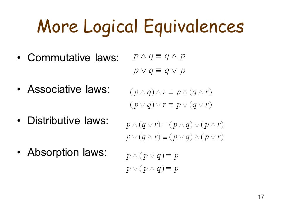 17 More Logical Equivalences Commutative laws: Associative laws: Distributive laws: Absorption laws: