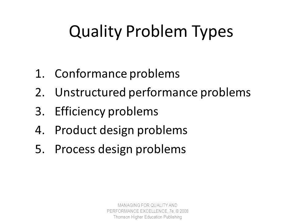 Quality Problem Types 1.Conformance problems 2.Unstructured performance problems 3.Efficiency problems 4.Product design problems 5.Process design prob