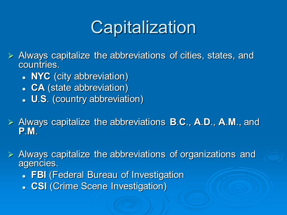 Capitalization Basics Capitalization The Decision To - Usa country abbreviation