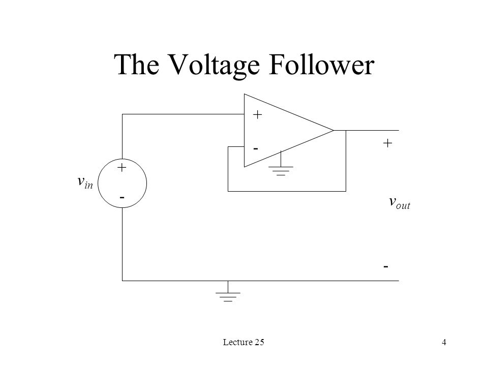 Lecture 254 The Voltage Follower v in v out + -