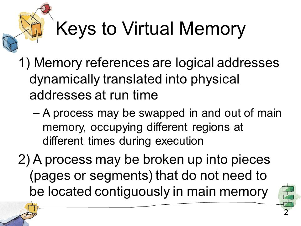 2 Keys to Virtual Memory 1) Memory references are logical addresses dynamically translated into physical addresses at run time –A process may be swapped in and out of main memory, occupying different regions at different times during execution 2) A process may be broken up into pieces (pages or segments) that do not need to be located contiguously in main memory