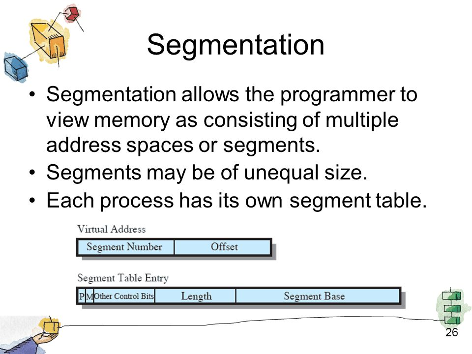 26 Segmentation Segmentation allows the programmer to view memory as consisting of multiple address spaces or segments.