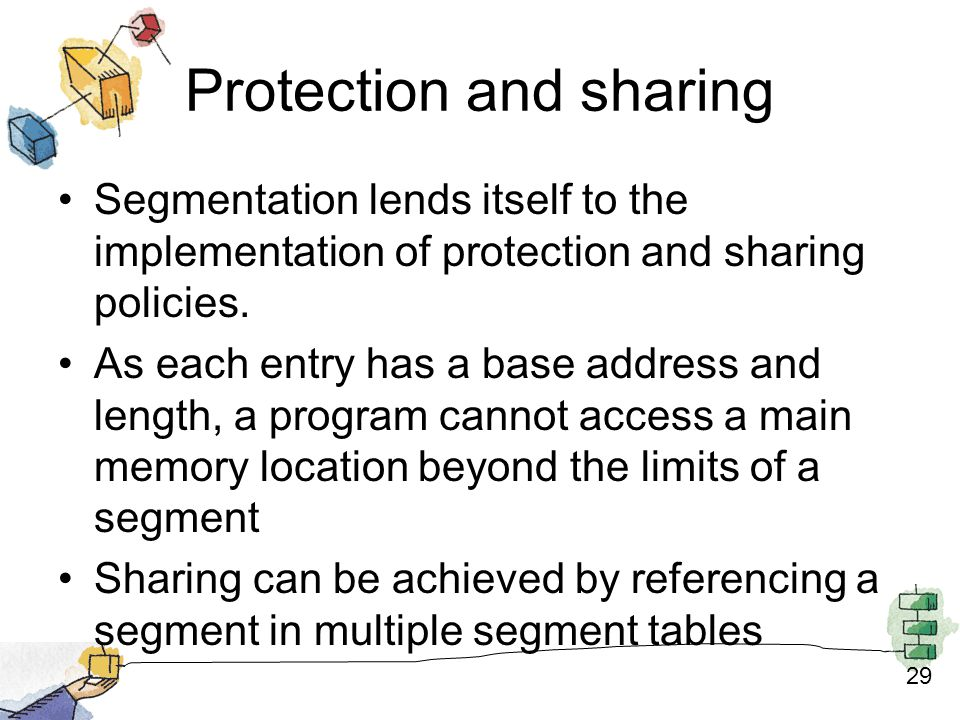 29 Protection and sharing Segmentation lends itself to the implementation of protection and sharing policies.