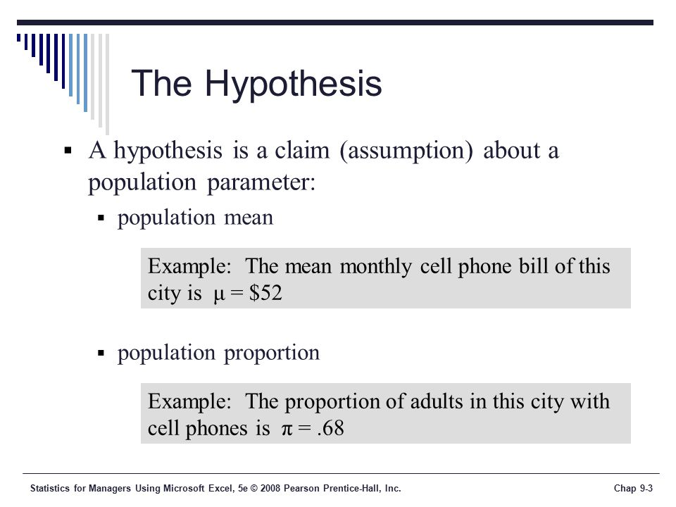 Statistics for Managers Using Microsoft Excel, 5e © 2008 Pearson Prentice-Hall, Inc.Chap 9-3 The Hypothesis  A hypothesis is a claim (assumption) about a population parameter:  population mean  population proportion Example: The mean monthly cell phone bill of this city is μ = $52 Example: The proportion of adults in this city with cell phones is π =.68