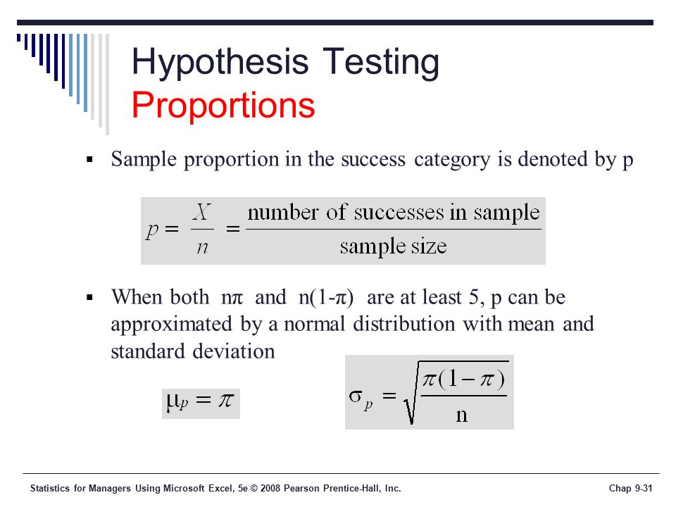 Statistics for Managers Using Microsoft Excel, 5e © 2008 Pearson Prentice-Hall, Inc.Chap 9-31 Hypothesis Testing Proportions  Sample proportion in the success category is denoted by p  When both nπ and n(1-π) are at least 5, p can be approximated by a normal distribution with mean and standard deviation
