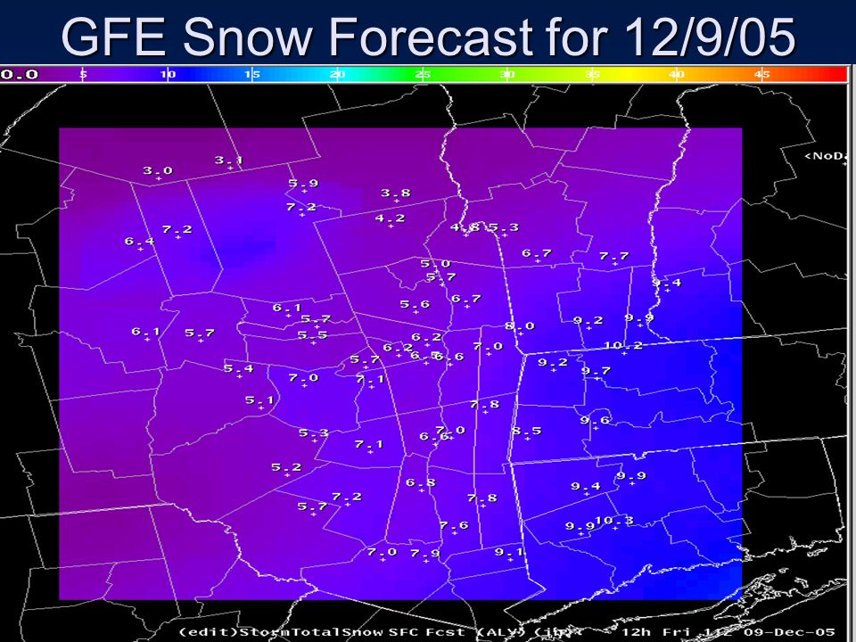 GFE Snow Forecast for 12/9/05