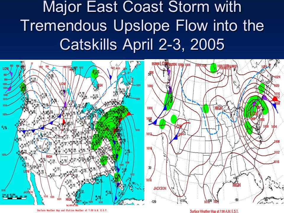 Major East Coast Storm with Tremendous Upslope Flow into the Catskills April 2-3, 2005