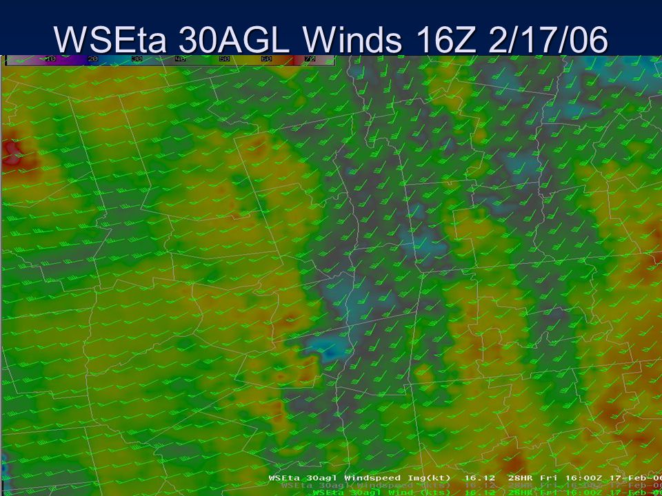 WSEta 30AGL Winds 16Z 2/17/06