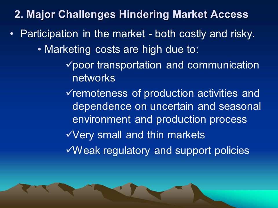 2. Major Challenges Hindering Market Access Participation in the market - both costly and risky.