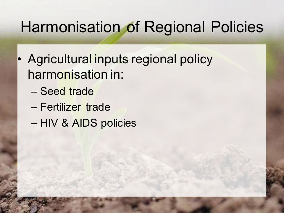 Harmonisation of Regional Policies Agricultural inputs regional policy harmonisation in: –Seed trade –Fertilizer trade –HIV & AIDS policies