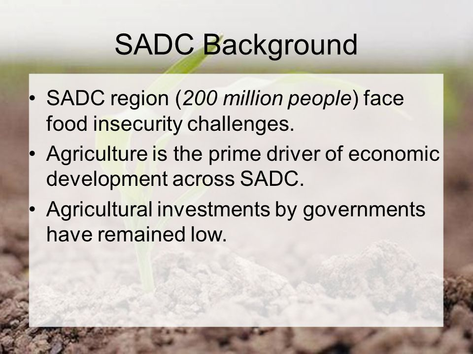 SADC Background SADC region (200 million people) face food insecurity challenges.