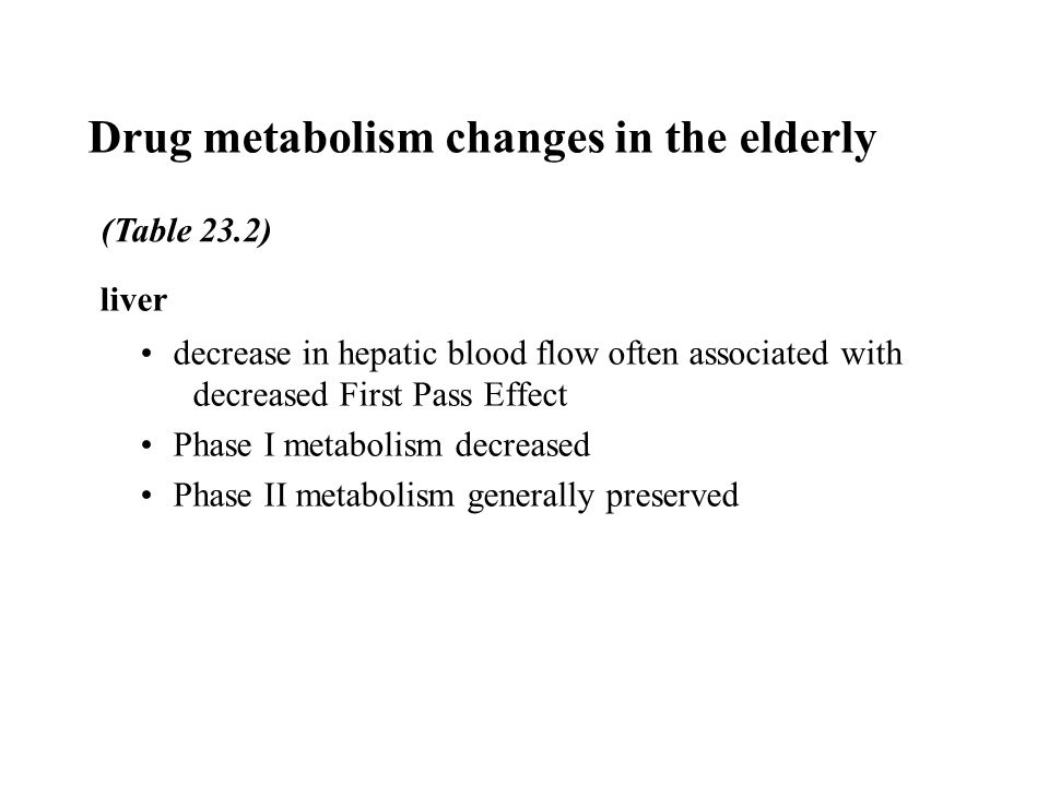 Drug metabolism changes in the elderly liver decrease in hepatic blood flow often associated with decreased First Pass Effect Phase I metabolism decreased Phase II metabolism generally preserved (Table 23.2)