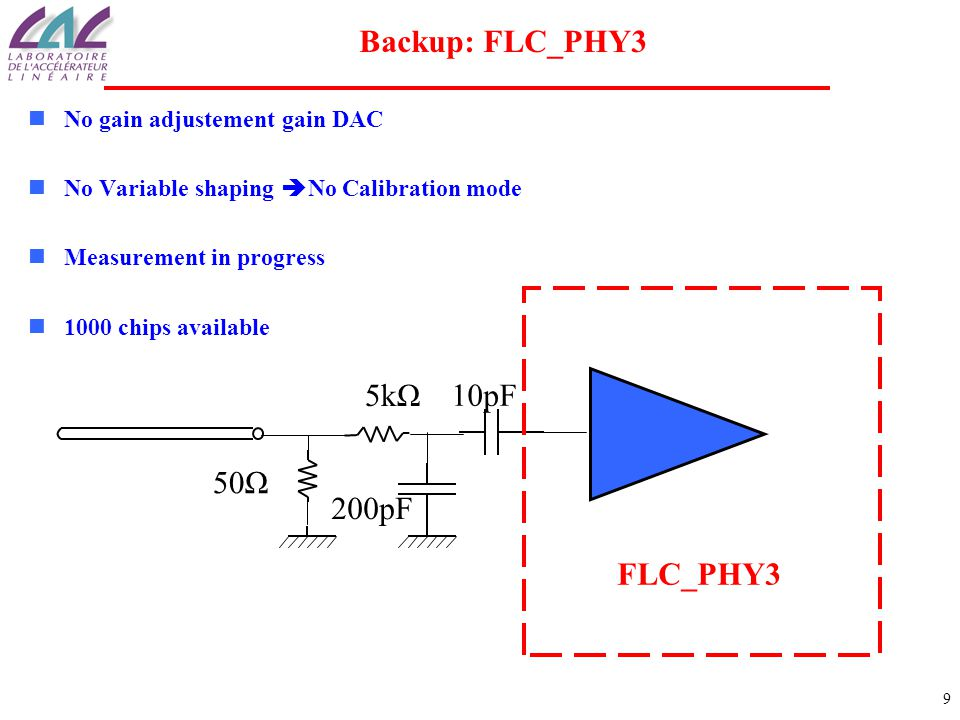 9 Backup: FLC_PHY3 No gain adjustement gain DAC No Variable shaping  No Calibration mode Measurement in progress 1000 chips available FLC_PHY3 50Ω 5kΩ 10pF 200pF