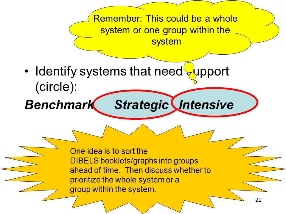 Oregon Reading First (2009)22 Identify systems that need support (circle): Benchmark Strategic Intensive Remember: This could be a whole system or one group within the system One idea is to sort the DIBELS booklets/graphs into groups ahead of time.