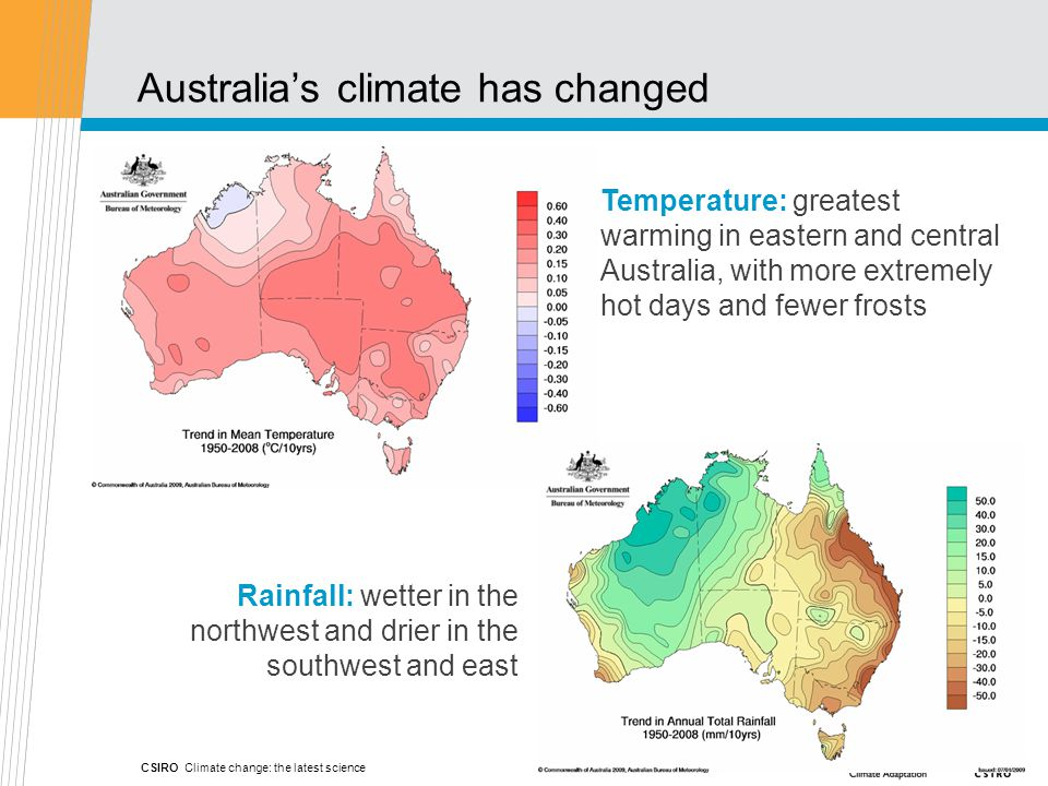 Rainfall: wetter in the northwest and drier in the southwest and east Temperature: greatest warming in eastern and central Australia, with more extremely hot days and fewer frosts Australia's climate has changed