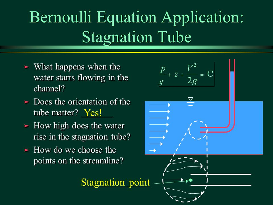 Bernoulli Equation Application: Stagnation Tube ä What happens when the water starts flowing in the channel.
