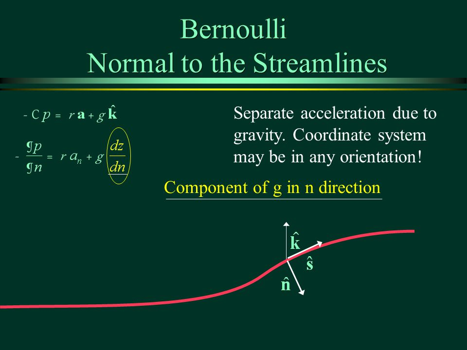 Bernoulli Normal to the Streamlines Separate acceleration due to gravity.