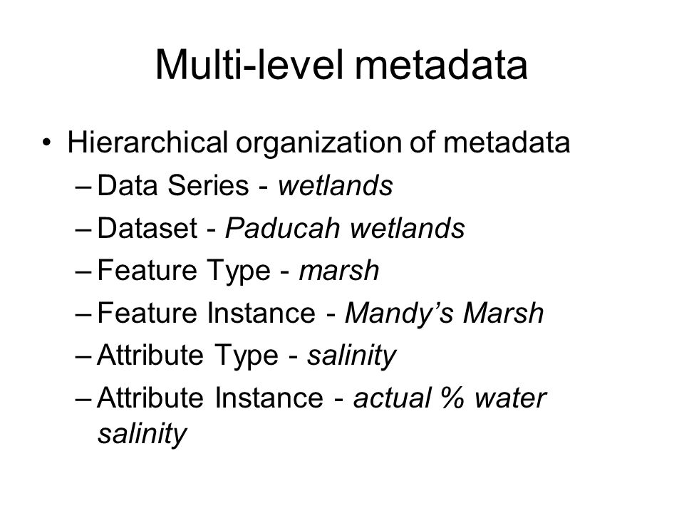 Multi-level metadata Hierarchical organization of metadata –Data Series - wetlands –Dataset - Paducah wetlands –Feature Type - marsh –Feature Instance - Mandy's Marsh –Attribute Type - salinity –Attribute Instance - actual % water salinity