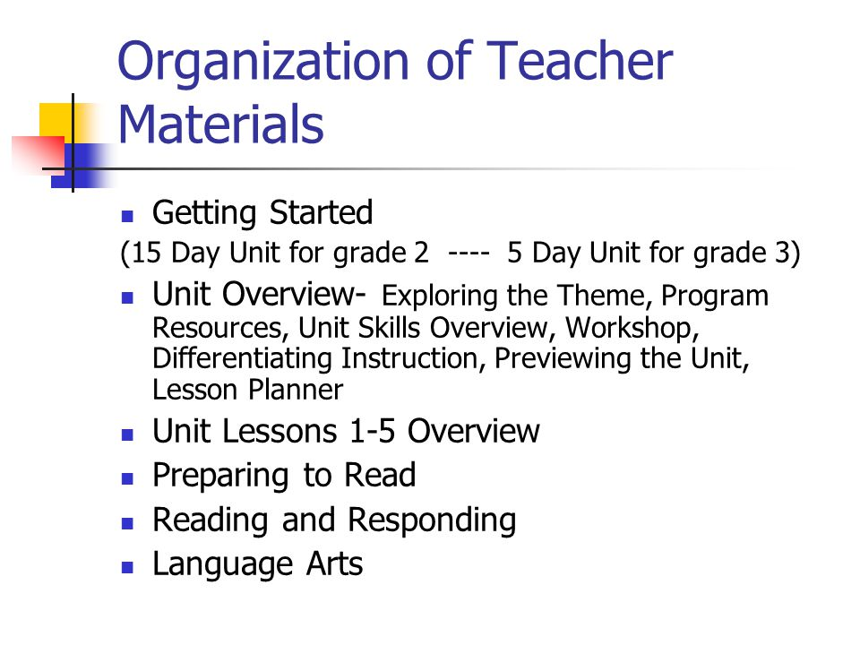 Organization of Teacher Materials Getting Started (15 Day Unit for grade Day Unit for grade 3) Unit Overview- Exploring the Theme, Program Resources, Unit Skills Overview, Workshop, Differentiating Instruction, Previewing the Unit, Lesson Planner Unit Lessons 1-5 Overview Preparing to Read Reading and Responding Language Arts