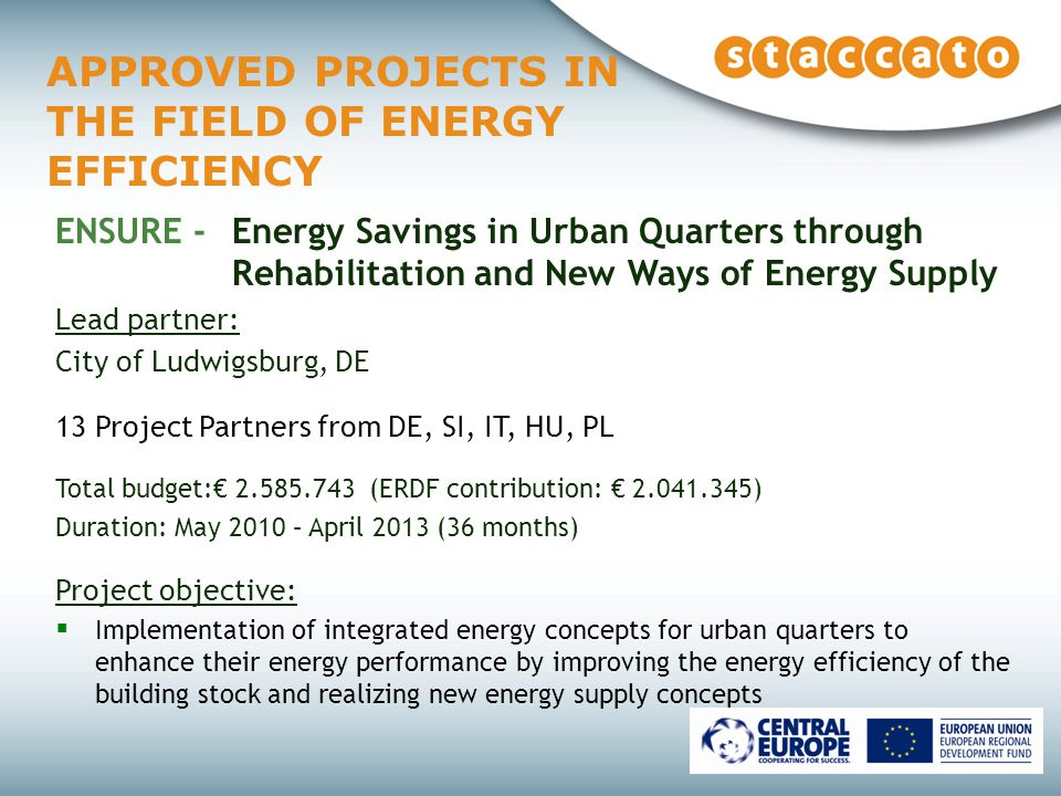 APPROVED PROJECTS IN THE FIELD OF ENERGY EFFICIENCY ENSURE - Energy Savings in Urban Quarters through Rehabilitation and New Ways of Energy Supply Lead partner: City of Ludwigsburg, DE 13 Project Partners from DE, SI, IT, HU, PL Total budget:€ (ERDF contribution: € ) Duration: May 2010 – April 2013 (36 months) Project objective:  Implementation of integrated energy concepts for urban quarters to enhance their energy performance by improving the energy efficiency of the building stock and realizing new energy supply concepts