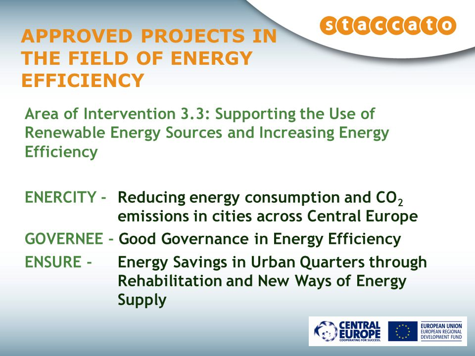 APPROVED PROJECTS IN THE FIELD OF ENERGY EFFICIENCY Area of Intervention 3.3: Supporting the Use of Renewable Energy Sources and Increasing Energy Efficiency ENERCITY - Reducing energy consumption and CO 2 emissions in cities across Central Europe GOVERNEE - Good Governance in Energy Efficiency ENSURE - Energy Savings in Urban Quarters through Rehabilitation and New Ways of Energy Supply