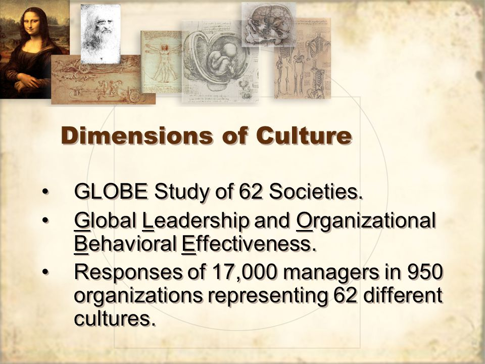 Dimensions of Culture GLOBE Study of 62 Societies.