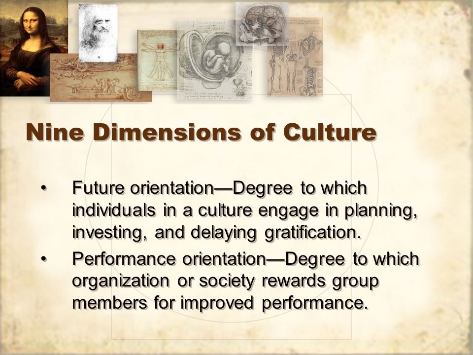 Nine Dimensions of Culture Future orientation—Degree to which individuals in a culture engage in planning, investing, and delaying gratification.