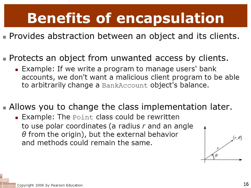 Copyright 2006 by Pearson Education 16 Benefits of encapsulation Provides abstraction between an object and its clients.