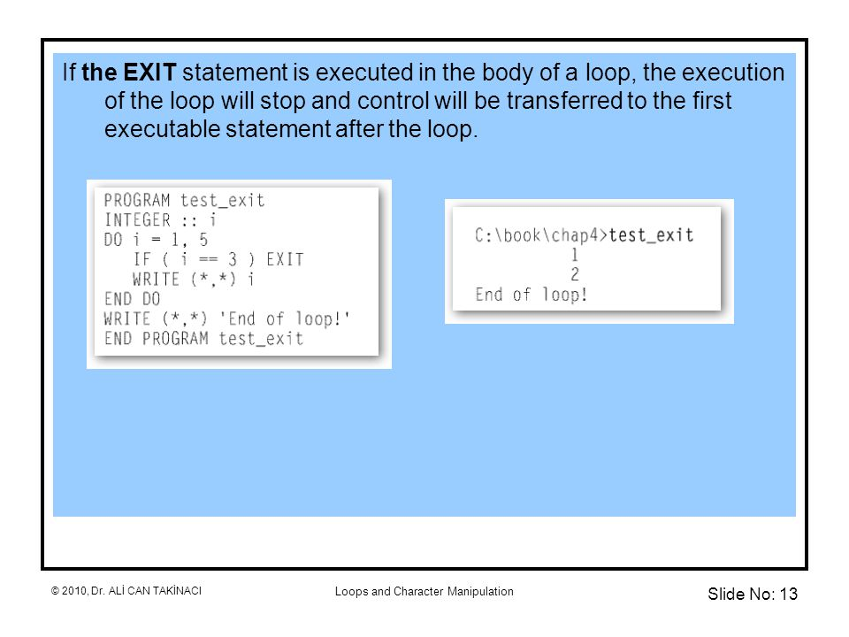 Loops and Character Manipulation If the EXIT statement is executed in the body of a loop, the execution of the loop will stop and control will be transferred to the first executable statement after the loop.