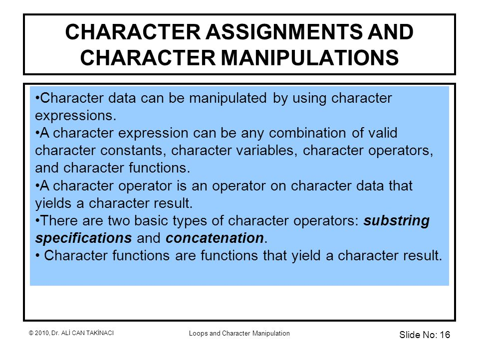 Loops and Character Manipulation CHARACTER ASSIGNMENTS AND CHARACTER MANIPULATIONS Character data can be manipulated by using character expressions.