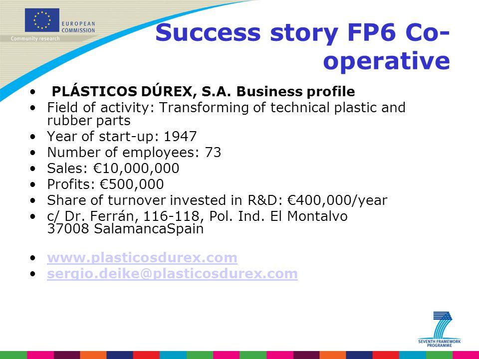 Success story FP6 Co- operative PLÁSTICOS DÚREX, S.A.