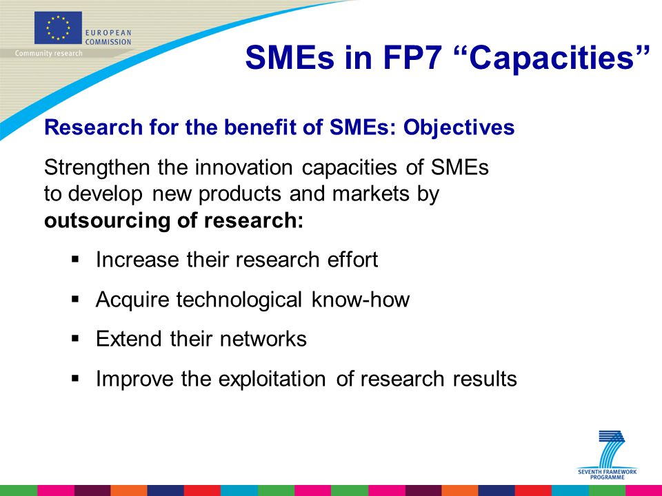 Research for the benefit of SMEs: Objectives Strengthen the innovation capacities of SMEs to develop new products and markets by outsourcing of research:  Increase their research effort  Acquire technological know-how  Extend their networks  Improve the exploitation of research results SMEs in FP7 Capacities
