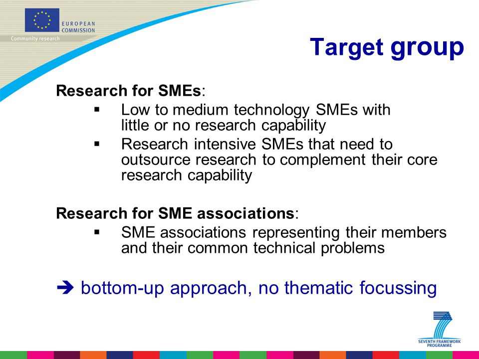 Target group Research for SMEs:  Low to medium technology SMEs with little or no research capability  Research intensive SMEs that need to outsource research to complement their core research capability Research for SME associations:  SME associations representing their members and their common technical problems  bottom-up approach, no thematic focussing