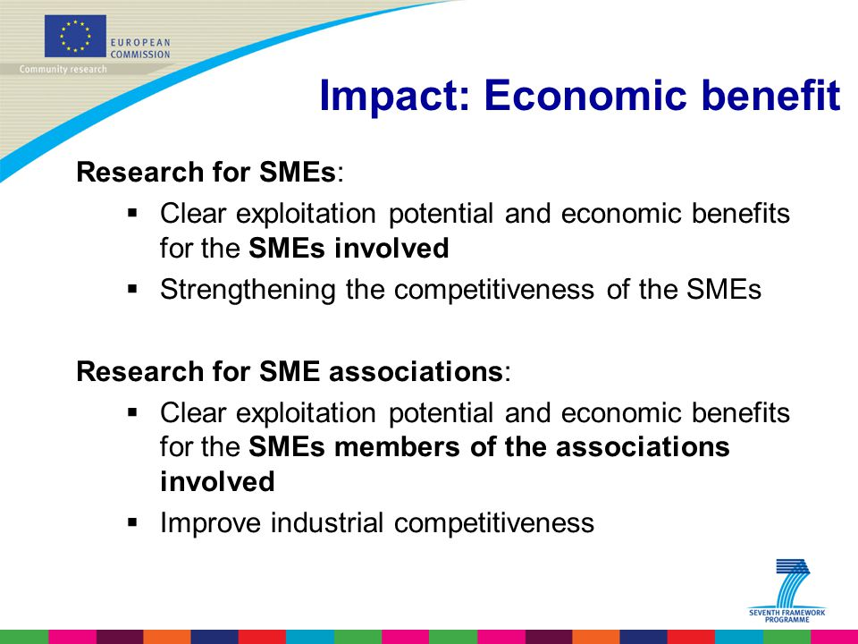 Impact: Economic benefit Research for SMEs:  Clear exploitation potential and economic benefits for the SMEs involved  Strengthening the competitiveness of the SMEs Research for SME associations:  Clear exploitation potential and economic benefits for the SMEs members of the associations involved  Improve industrial competitiveness