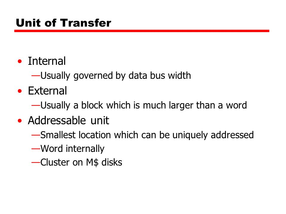 Unit of Transfer Internal —Usually governed by data bus width External —Usually a block which is much larger than a word Addressable unit —Smallest location which can be uniquely addressed —Word internally —Cluster on M$ disks