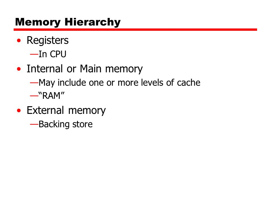 Memory Hierarchy Registers —In CPU Internal or Main memory —May include one or more levels of cache — RAM External memory —Backing store