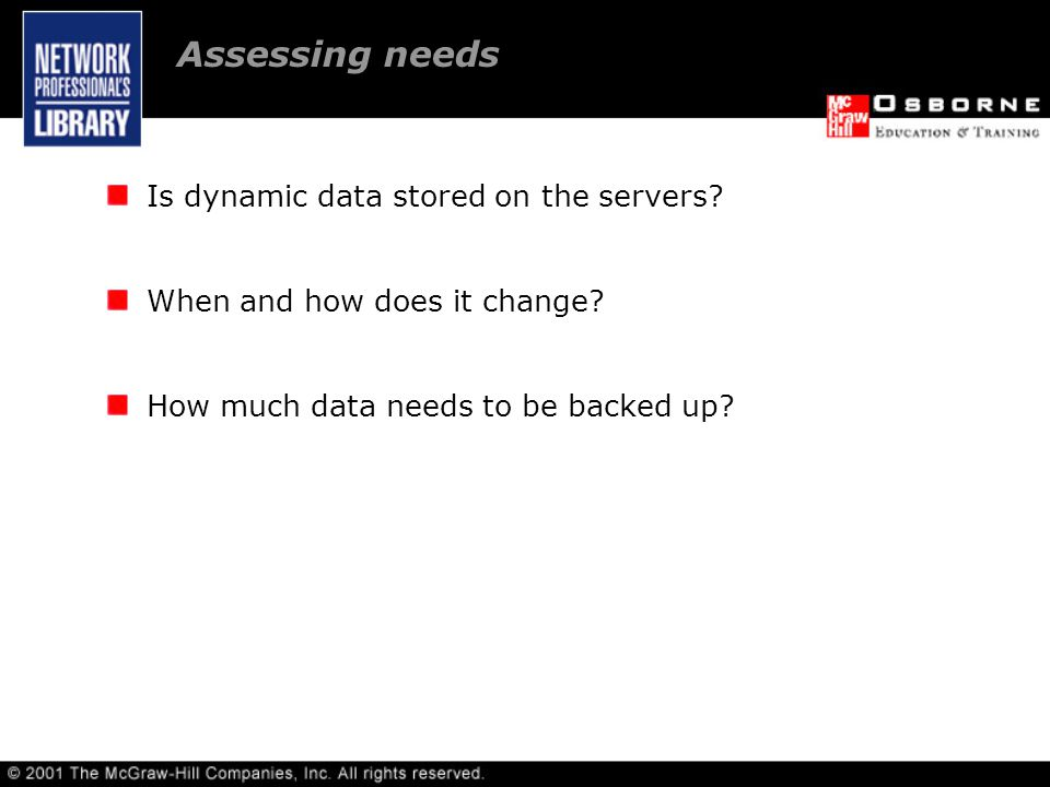 Assessing needs. Acquiring backup media/technologies.